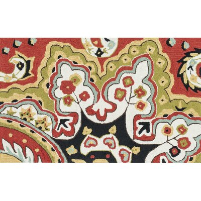 Francesca Hand-Hooked Red/Black Area Rug Rug Size: 23 x 39