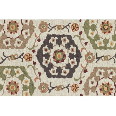Francesca Hand-Hooked Beige Area Rug Rug Size: Rectangle 23 x 39
