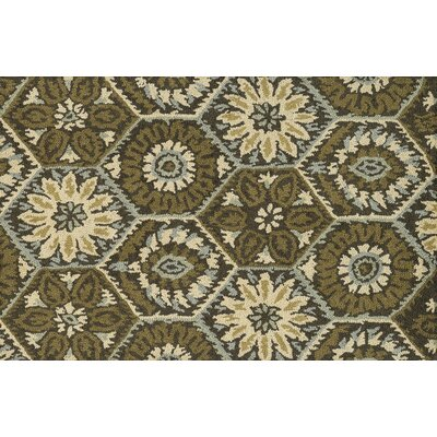 Keffer Hand-Hooked Brown/Green Area Rug Rug Size: Rectangle 93 x 13