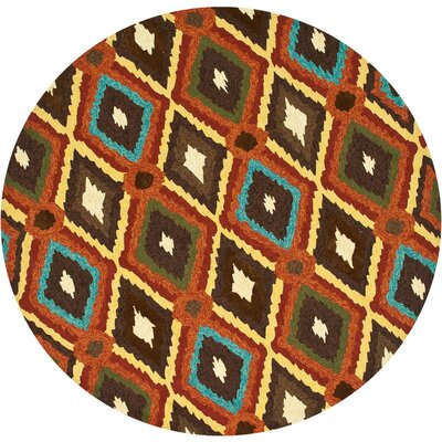 Enzo Hand-Hooked Brown/Red/Yellow Indoor/Outdoor Area Rug Rug Size: Round 710