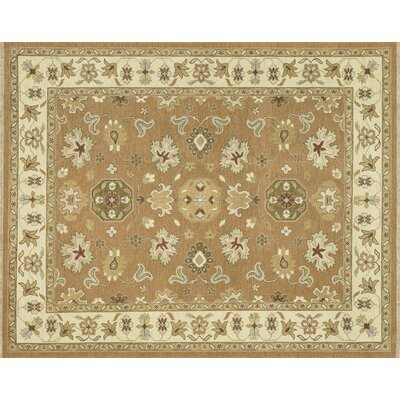 Laurent Hand-Knotted Beige/Brown Area Rug Rug Size: 96 x 136