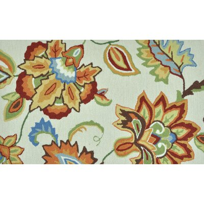 Summerton Hand-Hooked Ivory/Orange Area Rug Rug Size: 23 x 39
