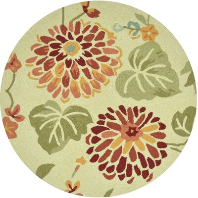 Summerton Hand-Hooked Beige/Red Area Rug Rug Size: Round 3
