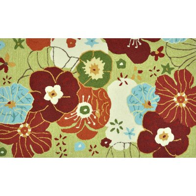 Summerton Hand-Hooked Lime/Red Area Rug Rug Size: 23 x 39