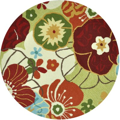 Summerton Hand-Hooked Lime/Red Area Rug Rug Size: Round 3