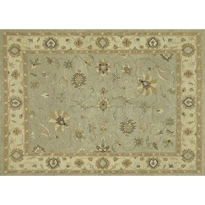 Laurent Hand-Knotted Sage/Gravel Area Rug Rug Size: 96 x 136