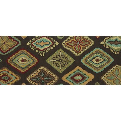 Grenkie Hand-Hooked Brown/Blue Area Rug Rug Size: Rectangle 23 x 39