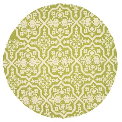 Venice Beach Hand-Hooked Peridot/Ivory Indoor/Outdoor Area Rug Rug Size: Round 710
