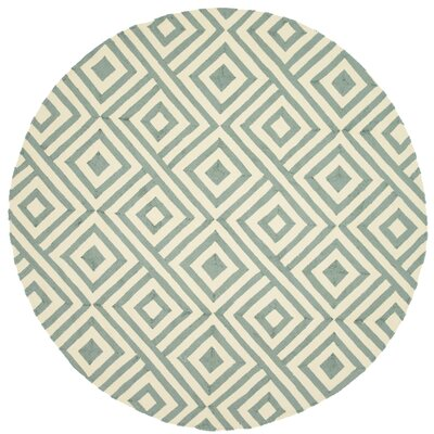 Venice Beach Hand-Hooked Gray/Ivory Indoor/Outdoor Area Rug Rug Size: Round 710