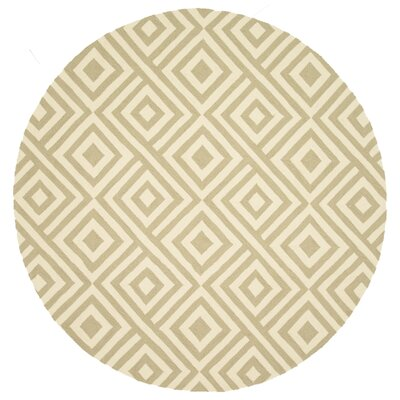 Venice Beach Hand-Hooked Slate/Ivory Indoor/Outdoor Area Rug Rug Size: Round 7'10