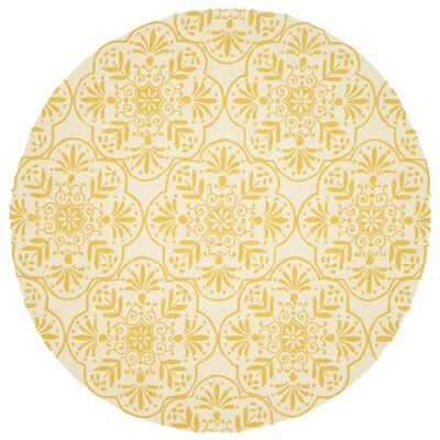 Venice Beach Hand-Hooked Ivory/Buttercup Indoor/Outdoor Area Rug Rug Size: Round 710