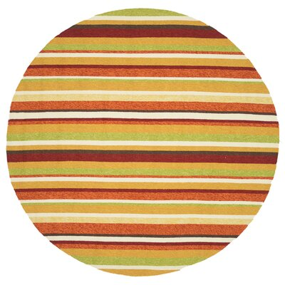 Danko Hand-Hooked Green/Red Indoor/Outdoor Area Rug Rug Size: Round 710
