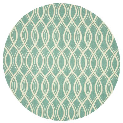 Venice Beach Hand-Hooked Green/Beige Indoor/Outdoor Area Rug Rug Size: Rectangle 76 x 96