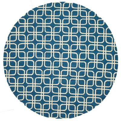 Venice Beach Hand-Hooked Blue/Ivory Indoor/Outdoor Area Rug Rug Size: Round 710