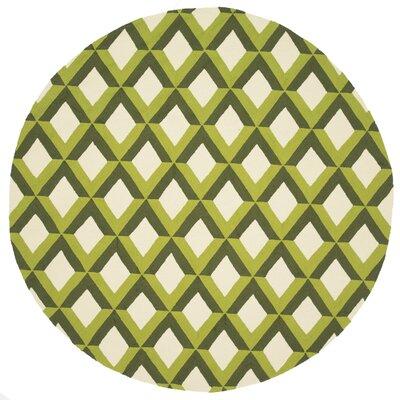 Danko Hand-Hooked Green/Ivory Indoor/Outdoor Area Rug Rug Size: Round 710
