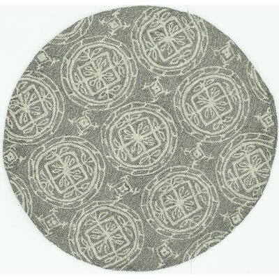 Summerton Hand-Hooked Gray/Ivory Area Rug Rug Size: Round 3