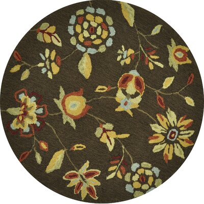 Summerton Hand-Hooked Brown Area Rug Rug Size: Round 3