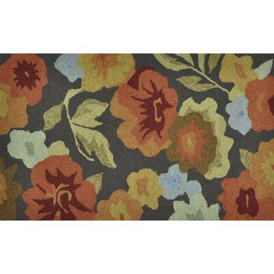 Summerton Hand-Hooked Dark Brown/Orange Area Rug Rug Size: 23 x 39