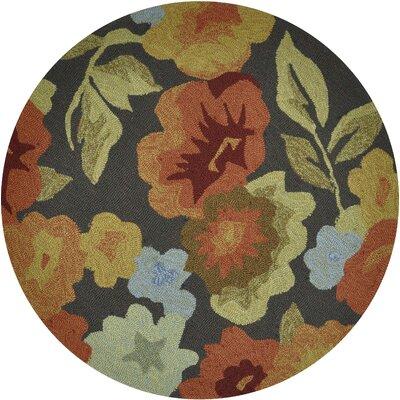 Summerton Hand-Hooked Dark Brown/Orange Area Rug Rug Size: Round 3