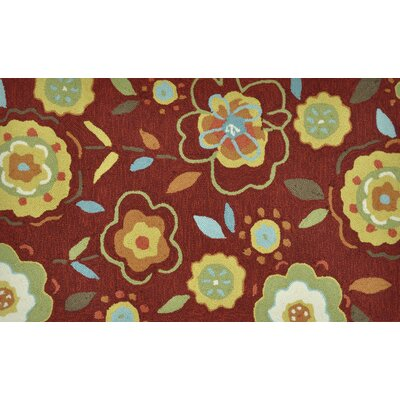Summerton Hand-Hooked Red/Yellow Area Rug Rug Size: 23 x 39