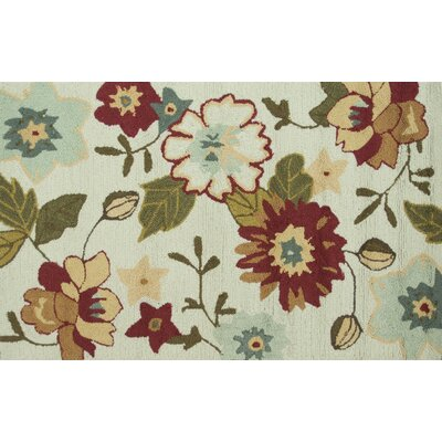 Summerton Hand-Hooked Ivory/Olive Area Rug Rug Size: 23 x 39