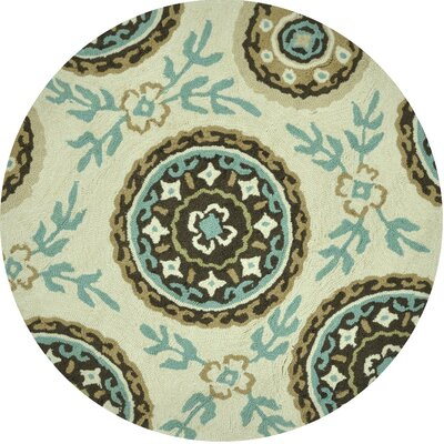 Summerton Hand-Hooked Ivory/Teal Area Rug Rug Size: Round 3