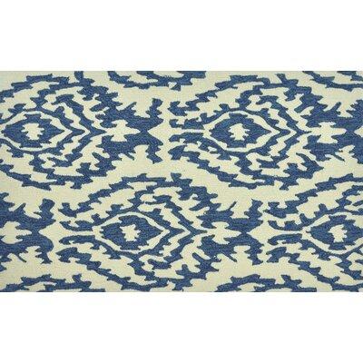 Summerton Hand-Hooked Beige/Blue Area Rug Rug Size: 23 x 39