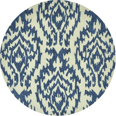 Summerton Hand-Hooked Beige/Blue Area Rug Rug Size: Round 3