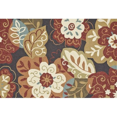 Summerton Hand-Hooked Brown/Red Area Rug Rug Size: 76 x 96