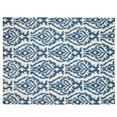 Summerton Hand-Hooked Beige/Blue Area Rug Rug Size: 76 x 96