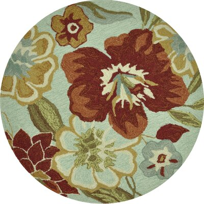 Summerton Hand-Hooked Mist/Red Area Rug Rug Size: Round 3