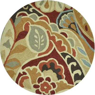Summerton Hand-Hooked Red/Brown Area Rug Rug Size: Round 3