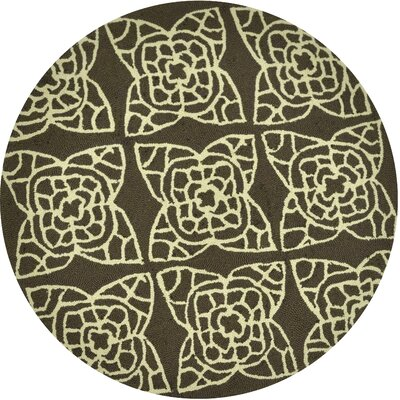 Summerton Hand-Hooked Brown/Ivory Area Rug Rug Size: Round 3
