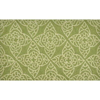 Summerton Hand-Hooked Green/Ivory Area Rug Rug Size: 23 x 39
