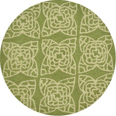 Summerton Hand-Hooked Green/Ivory Area Rug Rug Size: Round 3