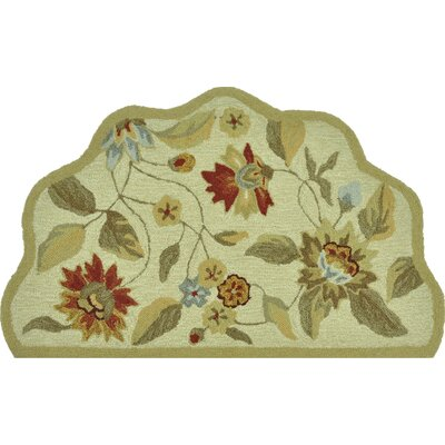 Summerton Hand-Hooked Ivory/Red Area Rug Rug Size: Slice 23 x 39