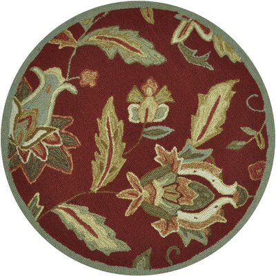 Summerton Hand-Hooked Red Area Rug Rug Size: Round 3