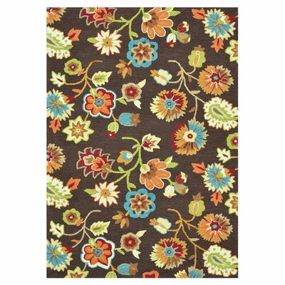 Juliana Floral Hand-Hooked Brown Area Rug Rug Size: 36 x 56