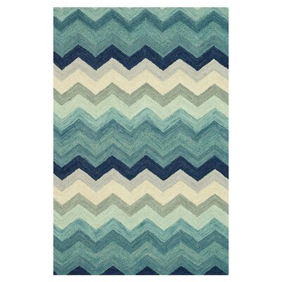 Keffer Hand-Hooked Blue/Beige Area Rug Rug Size: Rectangle 36 x 56