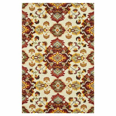 Keffer Hand-Hooked Red/Yellow Area Rug Rug Size: Rectangle 93 x 13