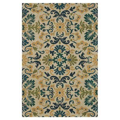 Fairfield Hand-Tufted Beige/Blue Area Rug Rug Size: 76 x 96