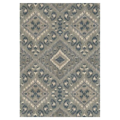 Leyda Hand-Tufted Gray/Denim Area Rug Rug Size: 36 x 56