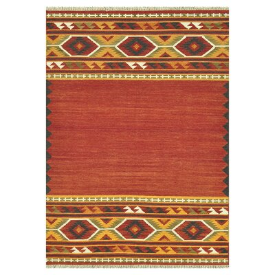Isara Hand-Woven Red/Gold Area Rug Rug Size: 76 x 96