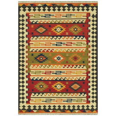 Isara Hand-Woven Green/Red/Yellow Area Rug Rug Size: 36 x 56
