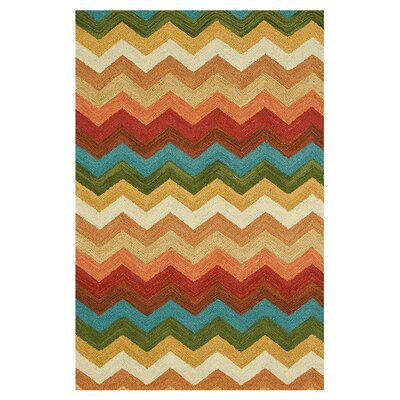 Taylor Hand-Tufted Blue/Orange Area Rug Rug Size: 36 x 56