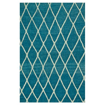 Adler Hand-Woven Azure Blue Area Rug Rug Size: Rectangle 5 x 76