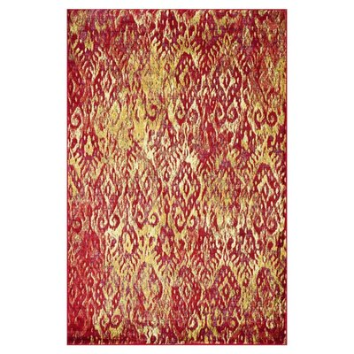 Lyon Poinsettia/Yellow Area Rug Rug Size: 52 x 77