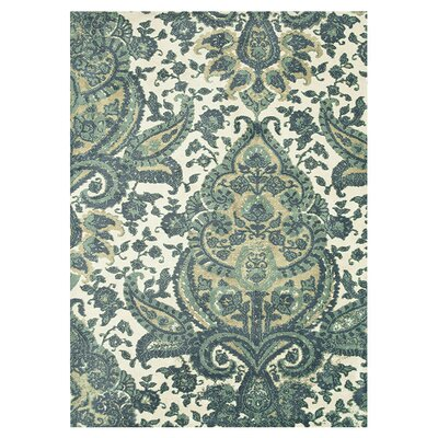 Keiper Teal/Cream Area Rug Rug Size: Rectangle 5 x 76