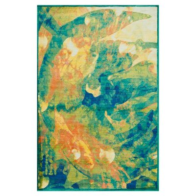 Lyon Tropical Island Blue/Orange Area Rug Rug Size: Rectangle 77 x 105