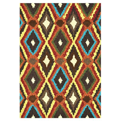 Enzo Hand-Hooked Brown/Red/Yellow Indoor/Outdoor Area Rug Rug Size: 23 x 39